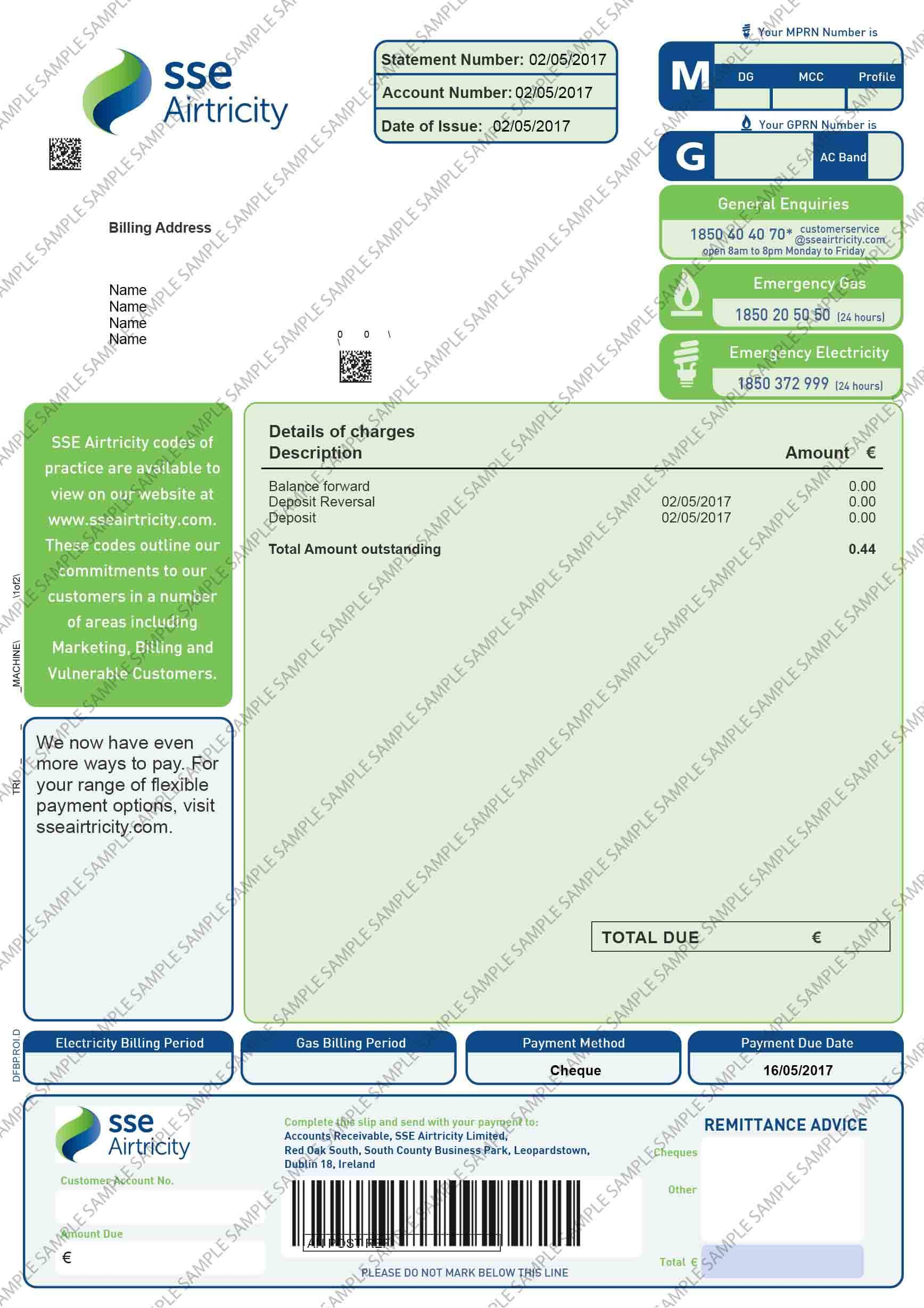 SSE Airtricity Utility Bill