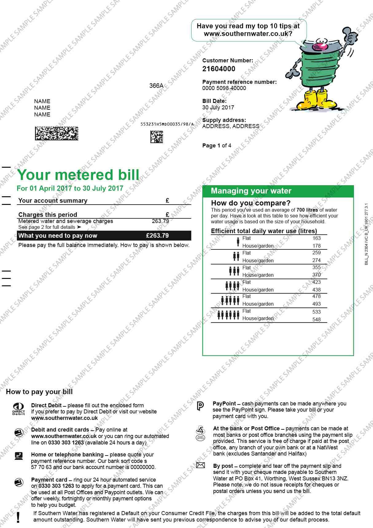Southern Water Utility Bill
