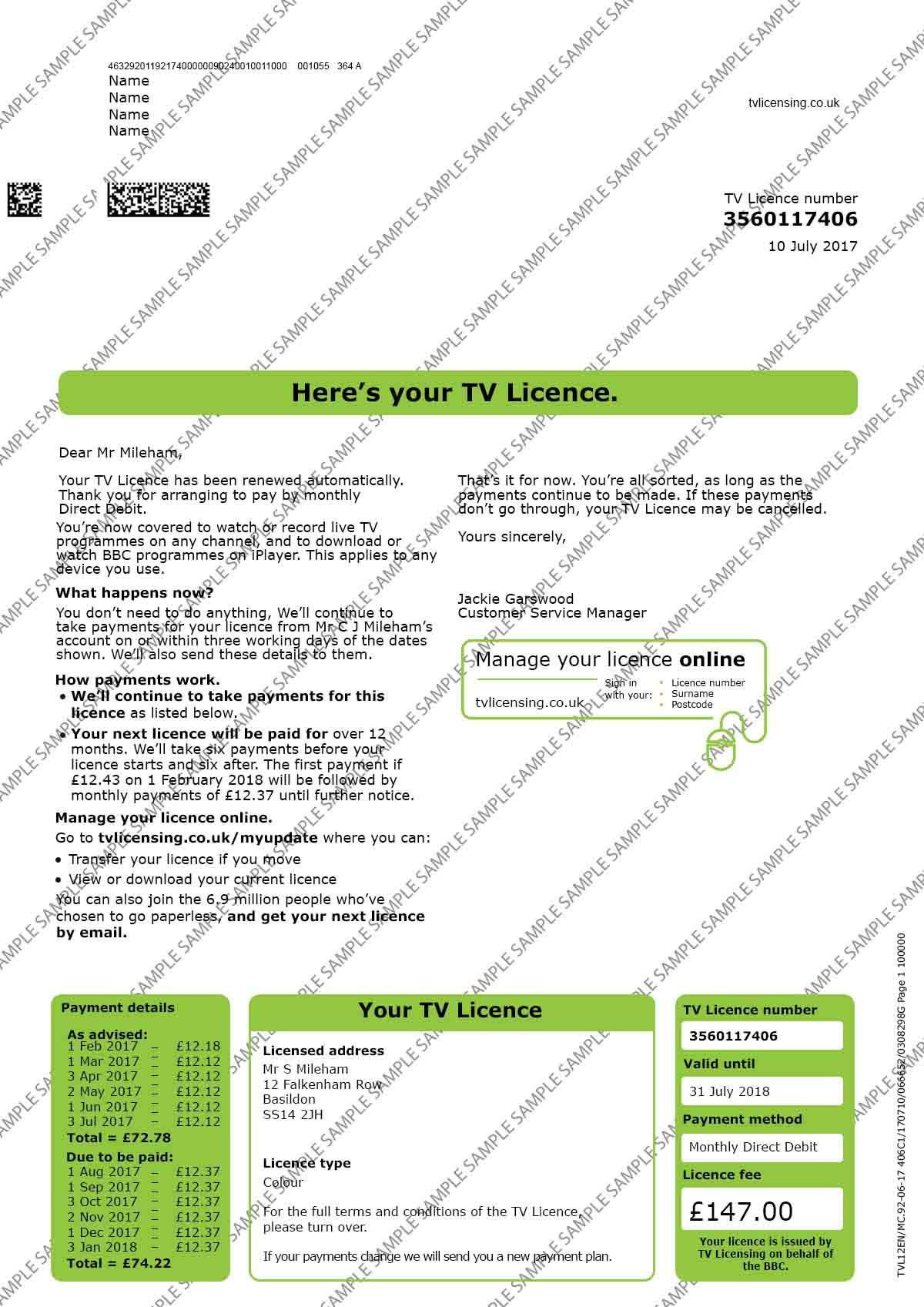 TV Licence Utility Bill
