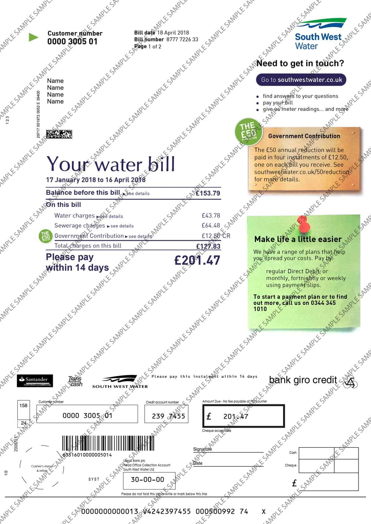 South West Water Utility Bill