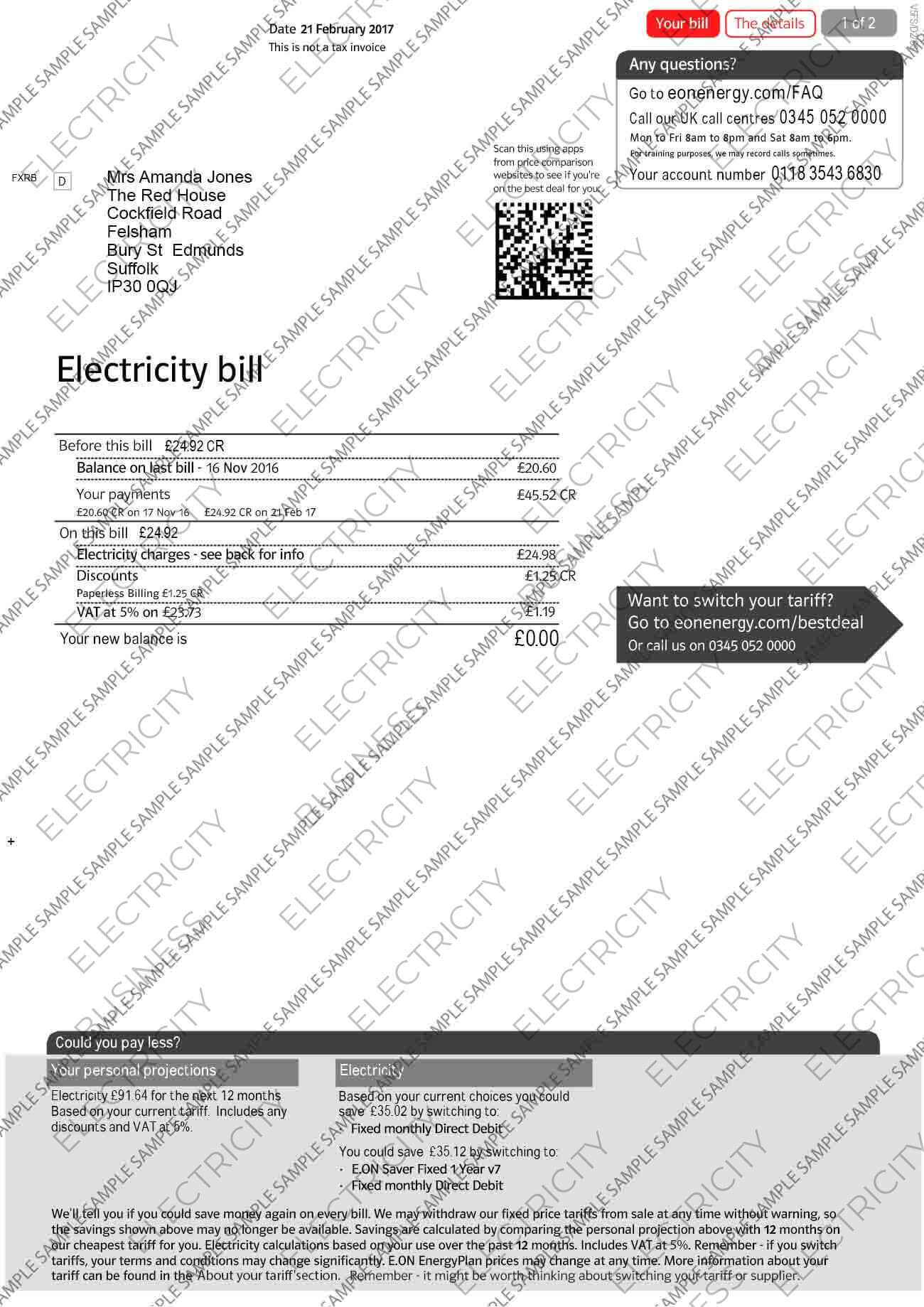 E-ON Electricity Utility Bill