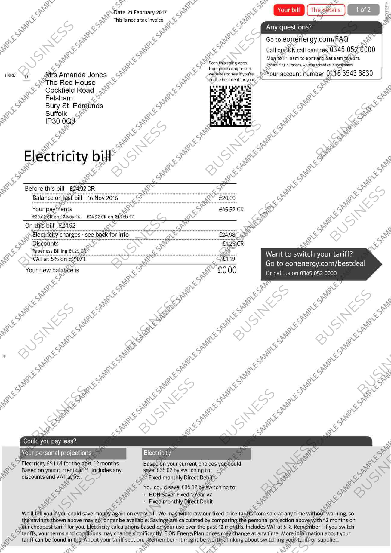 E-ON Business Utility Bill
