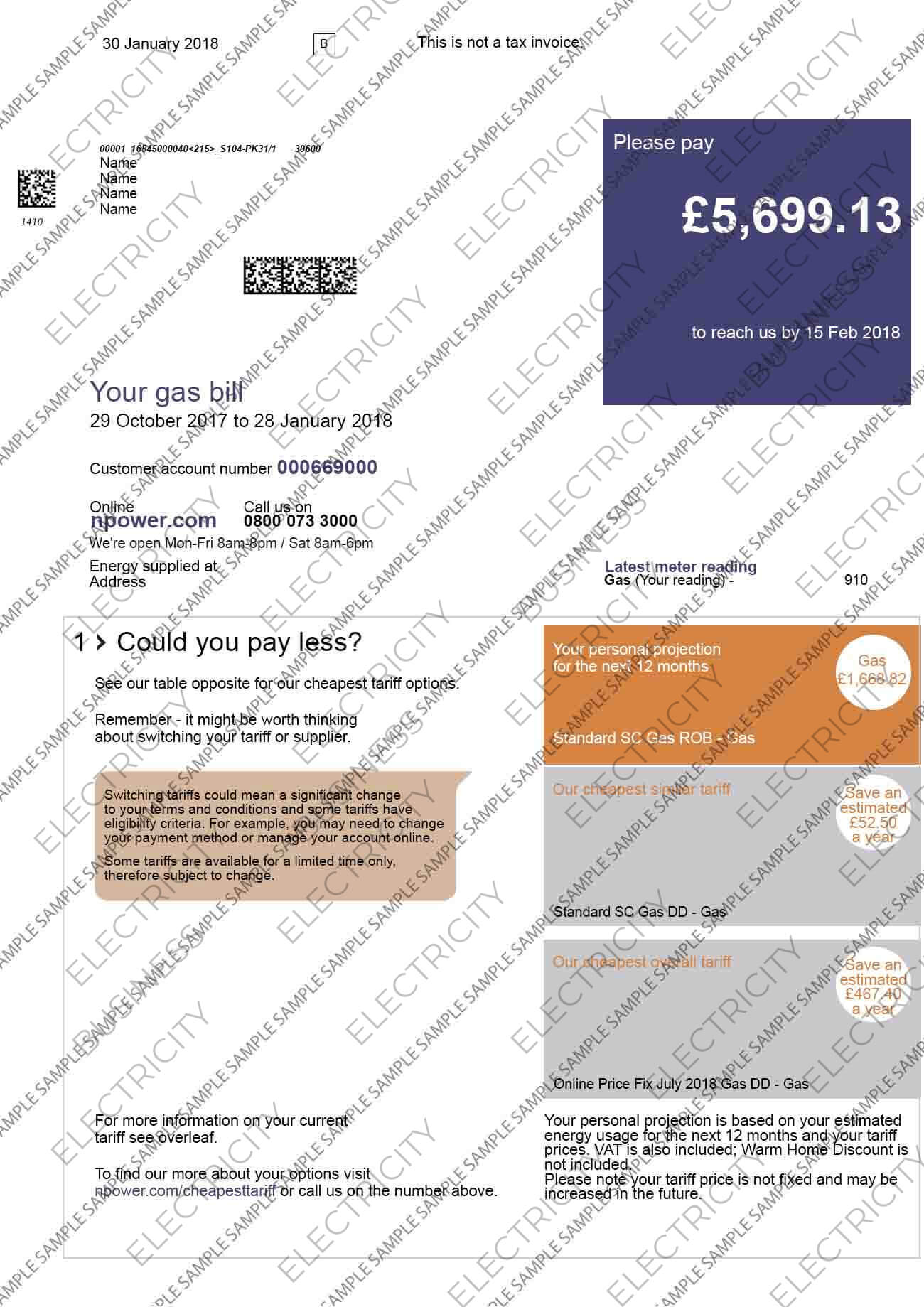 Npower Electricity Utility Bill