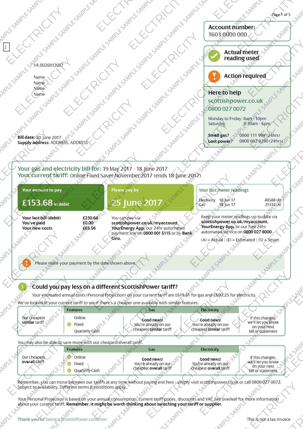 Scottish Power Electricity Utility Bill